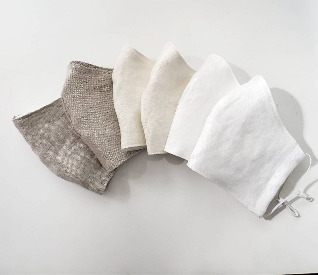 100% Organic Linen Face Mask with Filter Pocket - Washable Double Layered with Nose Wire and Adjustable Elastic